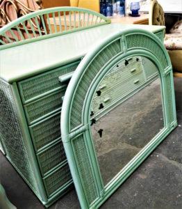 Camera da letto completa in giunco verde acqua - 390 €
