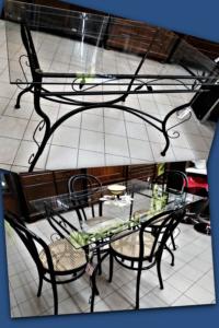 Tavolo in ferro con piano in vetro cm. 120 x 80