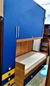 Cameretta a ponte con doppio letto e ante scorrevoli l.248 cm.