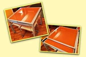 Tavolo in vetro arancione 90 x 90 raddoppiabile